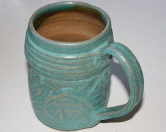 Turquoise Oversized Mug Stein  in Stoneware Holds  One Pint  Carved Surface One of a Kind