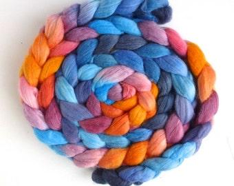 Merino/ Silk Roving (Top) - Handpainted Spinning or Felting Fiber, After Dawn