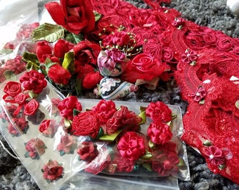 Lot of Red Craft Embellishments, Red Roses, Red Lace, Hobbies Crafts, Lamp Shades