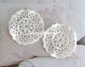 5 Small Off White Round Flower Floral Cotton Wedding Cocktail Dress Gown Bag Craft Sew On Appliques Embellishment Doilies Decorations