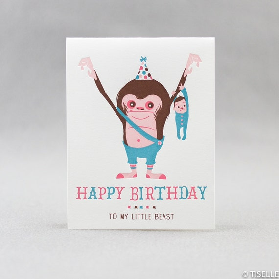 Letterpress Birthday Card, My Little Beast (boy)
