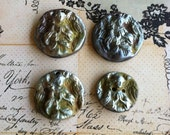Reserved for lulia Wondrousstrange Four Raku Ancient Digs Anglo Saxon Angel Pendants/Button  Green  Blue Silver Gold Rust