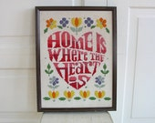 Vintage Home is Where The Heart Is, Vintage Needlepoint, Vintage Crewelwork, Vintage House Warming Gift, Sixties Needlepoint, Seventies