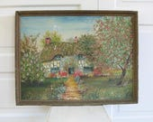 RESERVED..Vintage Cottage Painting, Vintage House Painting, Floral Oil on Canvas Painting, Antique Painting, Vintage Floral Painting