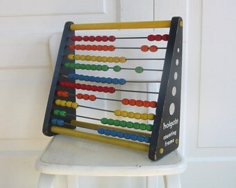 Vintage Toy Abacus, Vintage Wood Toy, Math Toy, Holgate Toy, Colorful Vintage Toy, Counting Toy, Retro Toy
