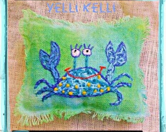 Cute Crab Hand Embroidered Rustic Pillow Made to Order YelliKelli