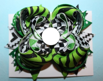 Green and Black for the CREEPER {Large -layered Boutique style hair bow barrette} Great gift for the holidays!