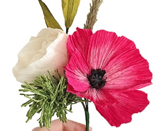 Small handmade crepe paper flower bouquet