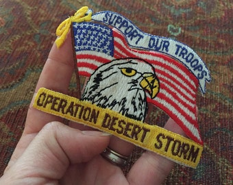 Desert Storm Patch, Vintage 90s USA Patch Support the Troops Yellow Ribbon Patch American Eagle Patriotic Patch Operation Desert Storm 1990s