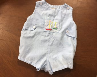 Vintage Baby Clothes, 3m 6m Baby Blue Romper, Vintage Baby Boy, Light Blue Sailboat Cute Summer Baby Vintage Layette Vintage Infant Clothing