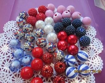 Patriotic Bulk Beads, 50 Beads, 20 MM beads, Party Favor, Necklaces or Bracelets