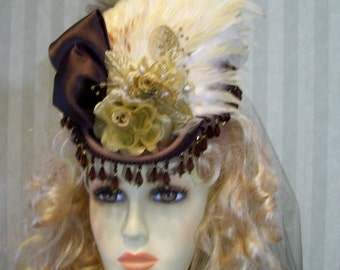 Steampunk Mini Riding Hat Victorian Hat 1800s Style Hat BroWn Civil War Reenactment Hat