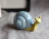 Snail Garden Sculpture in Stoneware with Sky Blue and Pear Green Glaze (small)
