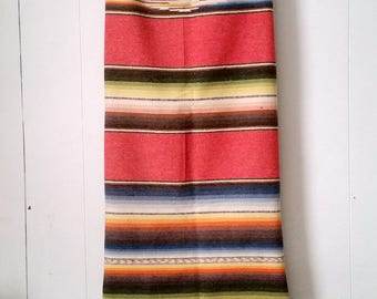 Vintage Mexican Ombre Stripe Saltillo Blanket or Serape