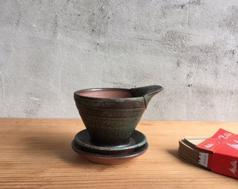 Handmade, wood fired, coffee pour over with tray by Julie Crosby