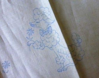 Antique Wonder Art Linen Flush Box Cover with Poodle 8 1/2 by 21 inches  NOS
