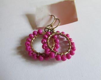 pink beaded hoops