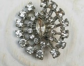 Vintage Button - 1  large oblong curved flower design rhinestone embellished, antique silver finish metal (feb 51 17)