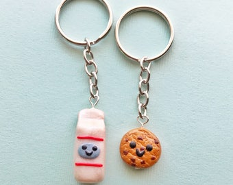 Best Friend Keychains Milk and Cookie, BFF Charms, BFF Keyring, BFF Accessories