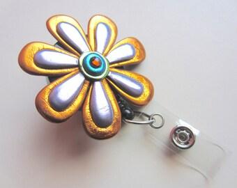 Whimsical flower Badge Reel in copper and lavender alligator or belt clip