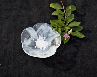 Fused glass flower bowl, white feathery on clear for the petals,  white center