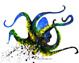 Octopus Spirit Animal Art Print Watercolor 8x10