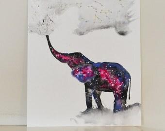 Elephant Spirit Animal ORIGINAL Watercolor 9X12