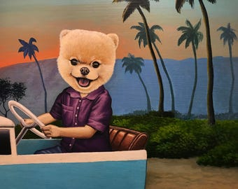 Original Mixed Media Pop Surrealism Dog Pomeranian Acrylic Painting