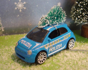 Italian Police Fiat car with Christmas tree ornament