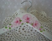 Clothes Hanger Hand Painted Pink Roses White Adult Size Dress Wedding Hanger