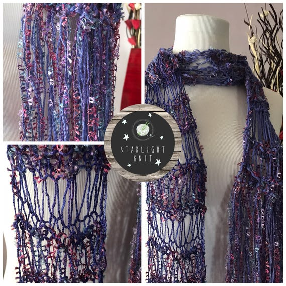 Hand Knit Classic Style Ladies Accessory Lightweight Scarf in Shimmer and Purple