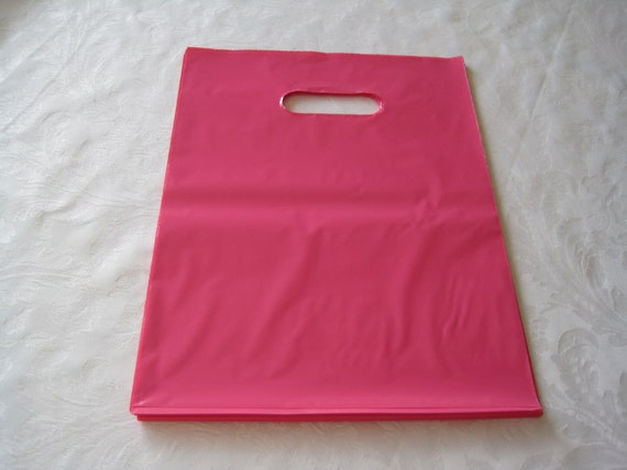 50 Pink Plastic Bags, Gift Bags, Favor Bags, Bags with Handles, Merchandise Bags, Shopping Bags 12x15