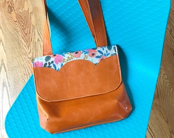 Vegan Leather Cross Body - Waterproof - Rifle Paper Co. Floral, in Orange - Tulip Collection
