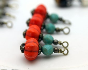 Pumpkin and Turquoise Czech Glass Bead Dangle Drop Charm Pendant