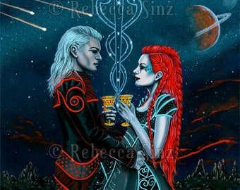 2 of Cups PRINT Tarot Space Science Fiction Constellation Aliens Fantasy Art Romance Love Stars Planets 3 SIZES