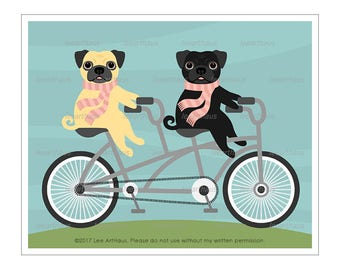 249D Dog Print - Two Pugs with Pink Scarves on Red Tandem Bicycle Wall Art - Funny Dog Wall Art - Dogs Riding Bicycle - Pug Wall Art - Pugs