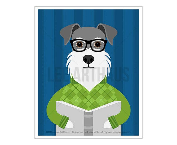 286D Dog Art Prints - Schnauzer Reading Book Wall Art - Schnauzer Gifts - Book Lover Gifts - Dog Wearing Green Argyle Sweater Print