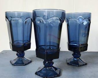 vintage blue glasses - pedestal water goblet - jewel tone barware - bohemian wedding decor