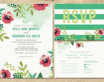green floral wedding invitation, green, coral flowers wedding invitation, custom printable wedding invitation