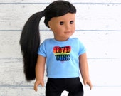 18 inch Doll Clothes Heart T Shirt, Love Wins Doll Tee Shirt, Choose Your Color