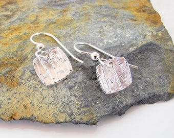 Fine Silver Square Dangles on Sterling Ear Wires - Bamboo Design - Shiny - Made to Order
