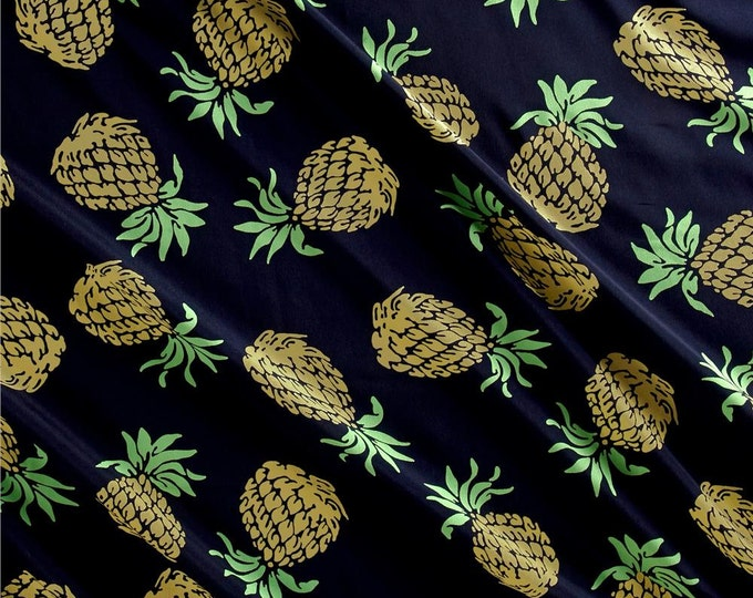 Pineapples in Navy by Telio - Polyester Crepe de Chine Fabric