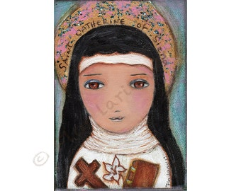 Saint Catherine -  Giclee print mounted on Wood (4 x 5 inches) Folk Art  by FLOR LARIOS