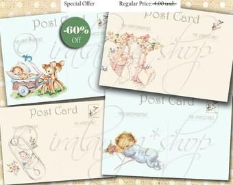 SALE BaBY POST CARDS Digital Images -printable download file/Digital Collage Sheet/Vintage Paper Scrapbook/Baby Tags/Baby/ Newborn/ Cards