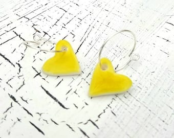 Porcelain and Sterling Silver Heart Earrings In Yellow