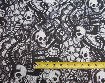 The Catacombs Skulls Swirl in Black White BY YARDS Alexander Henry Cotton Fabric