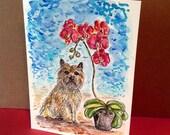 Crain Terrier and Orchid Pot, Terrier Card, Cairn Terrier Art, Dog Original Paintng, Original Watercolor, Flower Art, Watercolor Dog, 5 X 7
