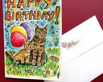 Mother Cat and Kitten Birthday Card, Birthday Cat, Watercolor Cat, Watercolor Card, Hand Painted Card, Handmade Card, Cat Stationery
