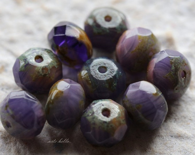 CRUSHED GRAPES .. 10 Premium Picasso Czech Glass Beads 6x8-9mm (4758-10)