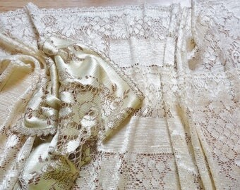 collection of vintage silk lace runners and one mat